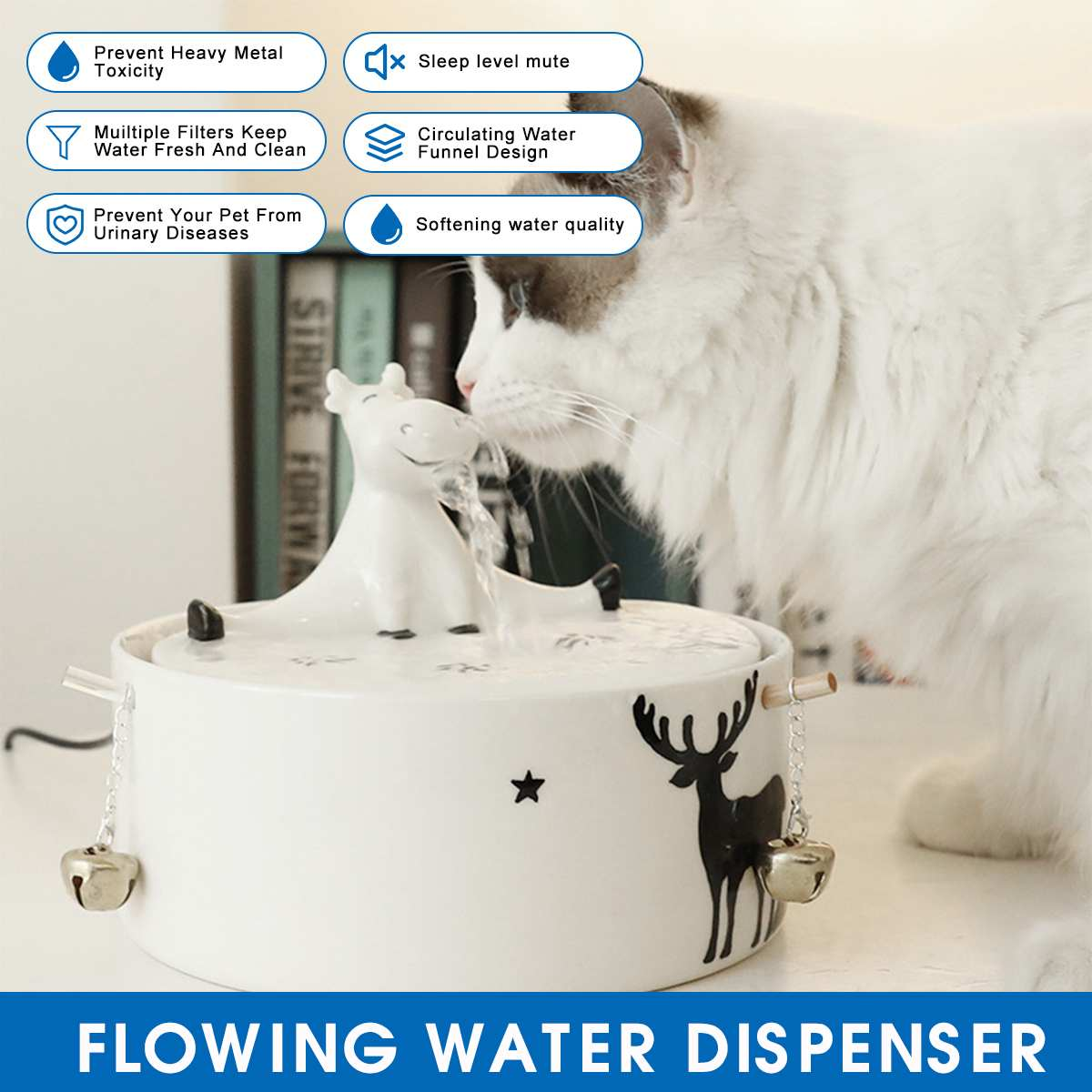 Ceramic Automatic Cat Fountain Pet Drinking Water Dispenser Electric Dog Drinking Fountain Dog Cat Feeder Drinking Bowl Filter фото