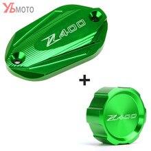 Motorcycle aluminum Front & Rear brake Fluid Cylinder Master Reservoir Cover Cap For Kawasaki Z400 Z 400 2019 2020
