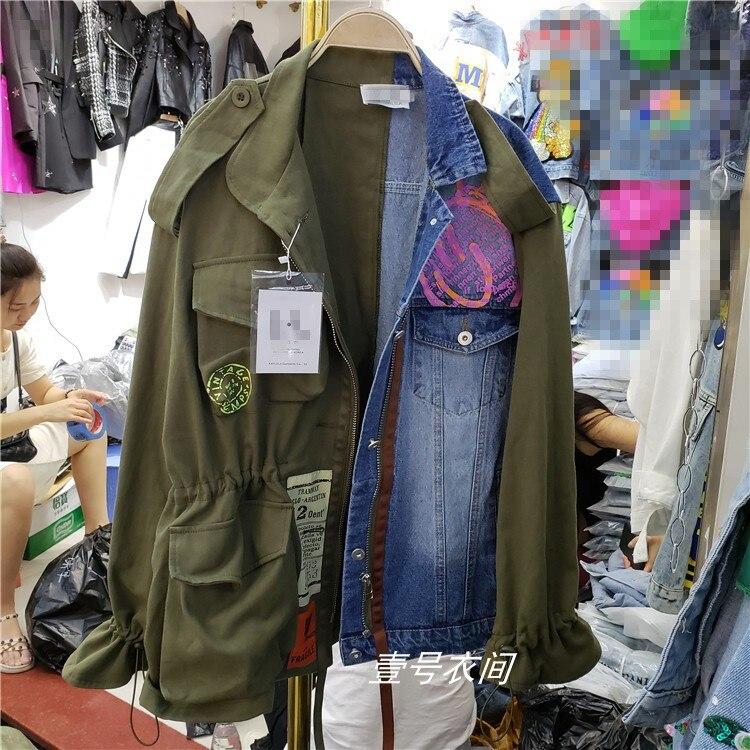 Harajuku Style Denim veste femmes printemps automne nouveau lâche coloré Alphabet Jeans veste manteau Jeans vestes Femme surdimensionné