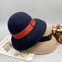 Bucket-Hat Sunblock Retro Woolen British-Style Elegance Female Width-Brim Formal Winter
