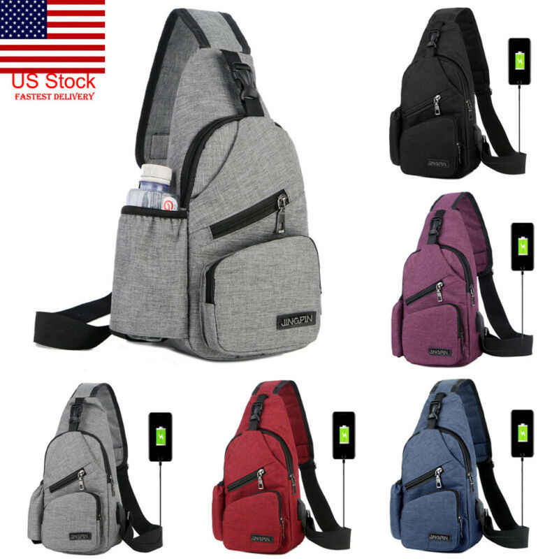 Men Women Shoulder Bag Sling Chest Pack Sports Crossbody Handbag Nylon 2 Colors
