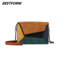BESTFORM Woman Messenger Bag Crossbody Fashion Quality Leather Shoulder Bags Women Patchwork Chain Flap Panelled Satchels