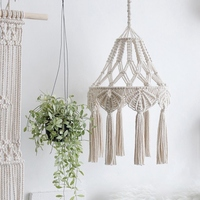 Bohemian Macrame Wall Hanging Ins Style Hand Woven Tapestry Girl Heart Bedroom Living Room Nordic Chandelier Cover Decoration