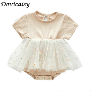 Baby summer bodysuit infant girls princess dress baby christening baptism gown party baby girls clothes(China)