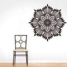 WJWY New Arrival Mandalas Yoga Flower Sign Wall Stickers Home Decor Vinyl Art Wall Decals Adhesive Living Room Murals(China)