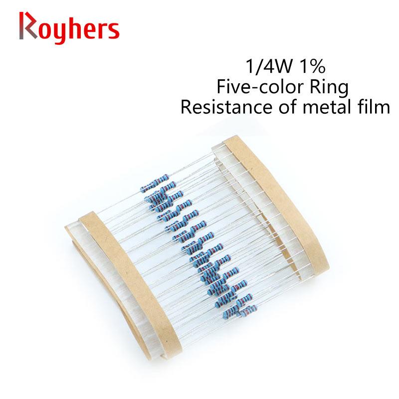 100 шт. 1/4W металлический пленочный резистор 0R-22M 1% Допуск 100R 150R 430R 820R 1,5 K 2,2 K 4,3 K 8,2 K 12K 20K 2 Ом электронное сопротивление