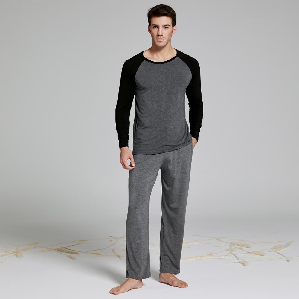 Men's Modal Cotton Long Sleeve Pajamas Set With Long Pant Two-piece Pajama Suit Men's Long Johns Home Wear Sleepwear Loungewear