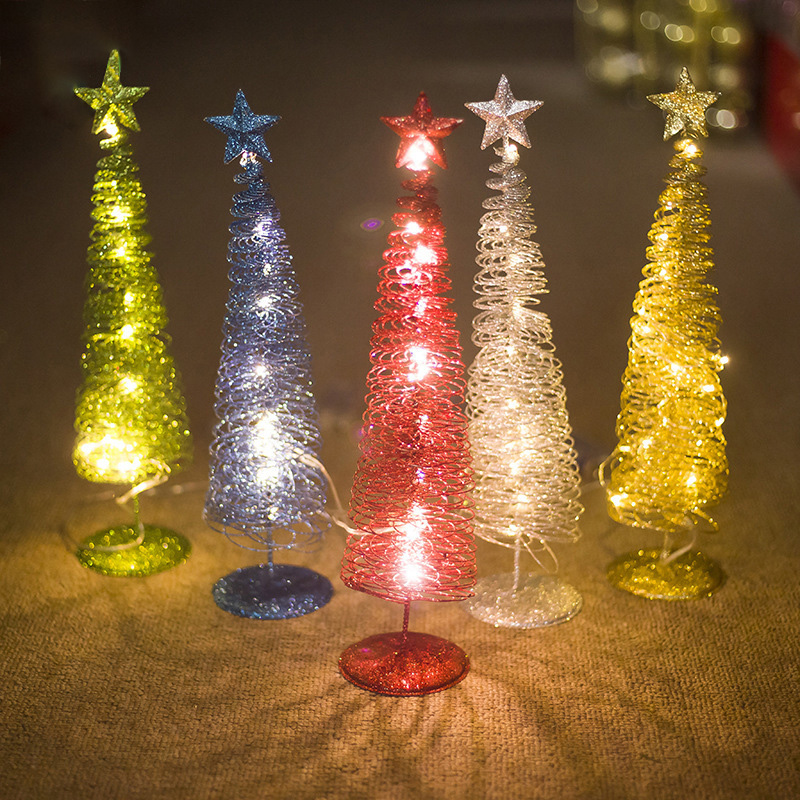 Christmas Decor Glowing Tree Shape Ornament Innovative Winding Lights Metal Decoration/