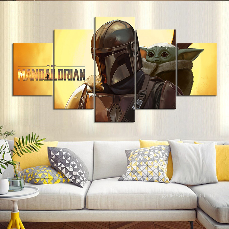 Unframed 5 Piece Star Wars The Mandalorian Baby Yoda Wall Picture for Home and Living Room Decor Movie Poster Artwork Sticker image
