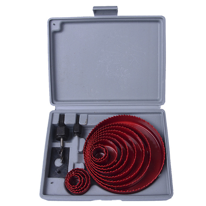 13pcs DIY Hole Saw Bit Cutting Set Kit 19-64mm Wood Sheet Metal Alloy Circular Round Case Drill Bits Thin Metal Cutter Hole Saw