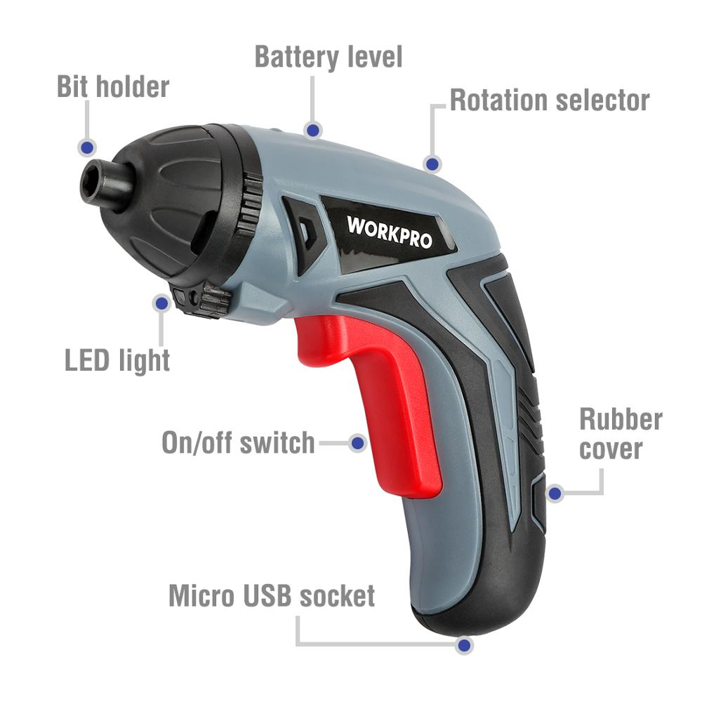 Image 2 - WORKPRO 3.6V USB Cordless Electric Screwdriver Household Rechargeable Li ion Screwdriver-in Electric Screwdrivers from Tools