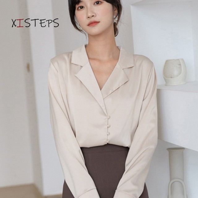 V-neck Chiffon Shirts Women 2021 Spring Pure White Blouses Long Sleeve Professional Female Office Work Wear Tops Chiffon Clothes 1