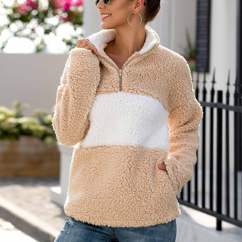 Suéteres de mujer con cremallera y cuello alto pulóveres de felpa caliente suéter corto suelto de manga larga chaqueta de abrigo de mujer Otoño Invierno