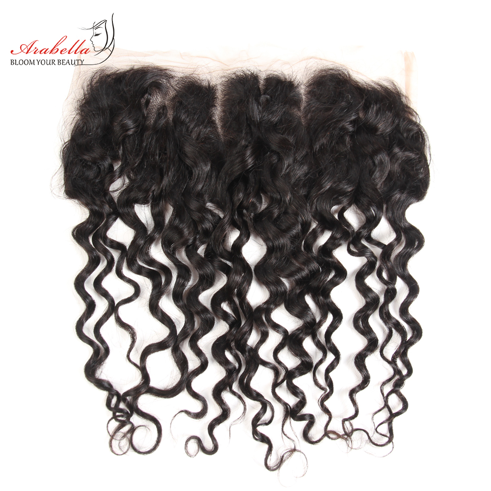 13x4 Water Wave Lace Frontal Ear To Ear Natural Color  Arabella Pre Plucked Bleached Knots Lace Frontal Closure 1