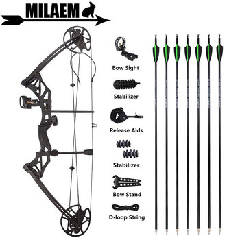 KAIMEI HAN Archery 30-70lbs Compound Bow Set With Carbon Arrows IBO320FPS 80% Labor Saving Ratio Shooting Hunting Accessories new 2 color 30 70lbs archery compound bow set aluminum alloy with bow accessories for outdoor hunting shooting