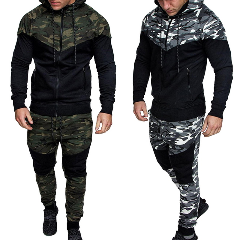 Sfit Causal Camouflage Running Set Jacket+Pants Sets 2Pc Tracksuit Sportswear Hoodies Suit Male Tops+ Bottoms