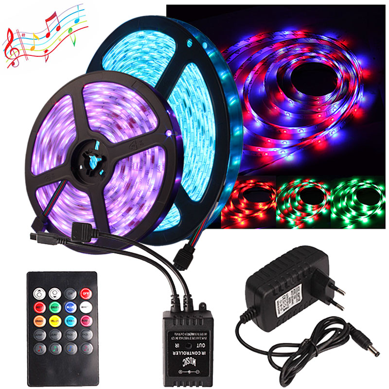 Ribbon LED Strip Waterproof 5M Flexible Neon Diode Tape 2835 RGB Led Light Strip With Music 20Key Controller + 12v Adapter Set