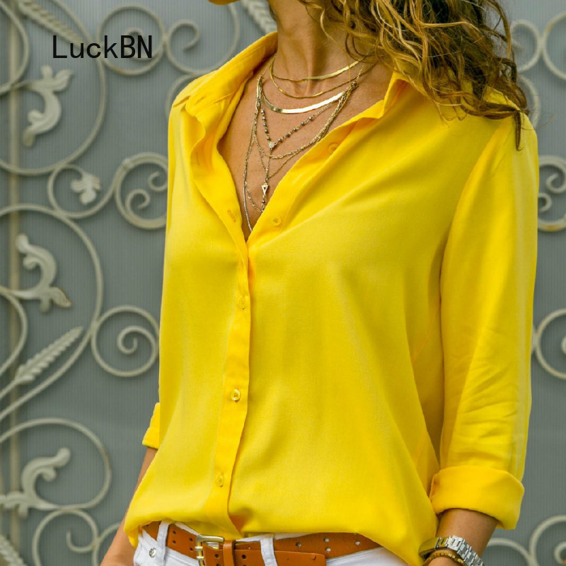 Plus Size 8XL 7XL Women Blouses Chiffon Blouse Oversized Long Sleeve Tops Turn Down Collar Solid Office Shirt Casual Top Blusas