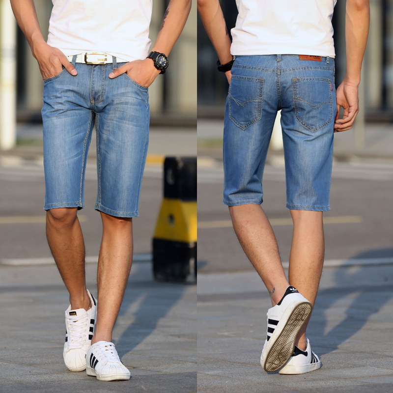 2019 Summer Thin Section MEN'S Denim Shorts Korean-style Straight Slim In Pants Teenager 858