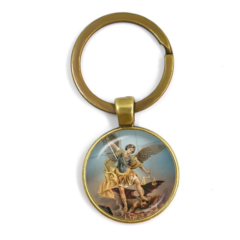 New Men Keychains Archangel St.Michael Protect Me Saint Shield Protection Charm Russian Orhodox Keyrings Jewelry For Holy Gift