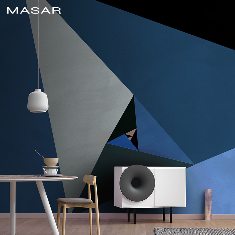 MASAR   Creative Geometric Large Triangle Rotating Mural Color Living Room Sofa Dining Room Television Background Wall Wallpaper
