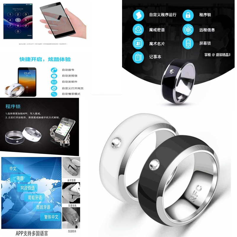 Новинка, многофункциональное умное кольцо с NFC для Android-технологии, Пальчиковое умное Пальчиковое цифровое кольцо для пальцев, носимое умно...