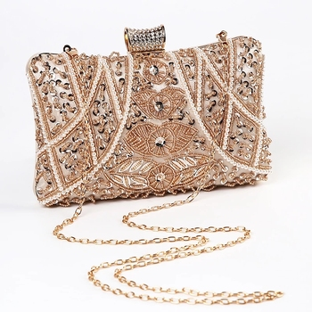 Luxury Apricot Pearl Evening Clutch   1