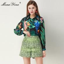 MoaaYina Fashion Designer Set Spring Summer Women Long sleeve Beading Green leaf Parrot Shirt Print Tops+Shorts Two piece suit