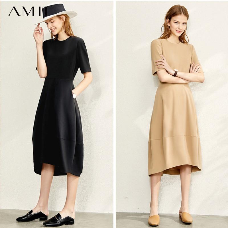 Amii Autumn Elegant Office Lady Dress Women Fashion Solid Slim Fit Round Neck Short Sleeve Dresses 11930409