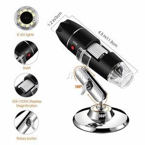 Image 2 - 40X 1000X 拡大鏡 8 LED 顕微鏡デジタルミニカメラハンドヘルド USB ビデオ内視鏡マイクロカム学校 Numerique Electronique
