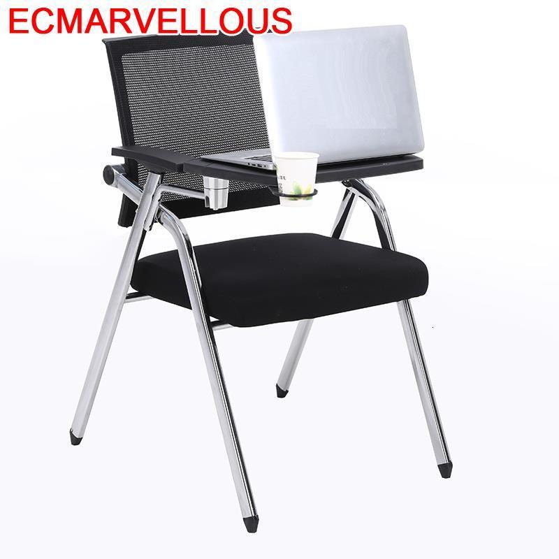 Metal Foldable Cadeira Com Escrita Kursi Staf Folding Office Board Sedie Moderne Pieghevoli Silla De Oficina Conference Chair