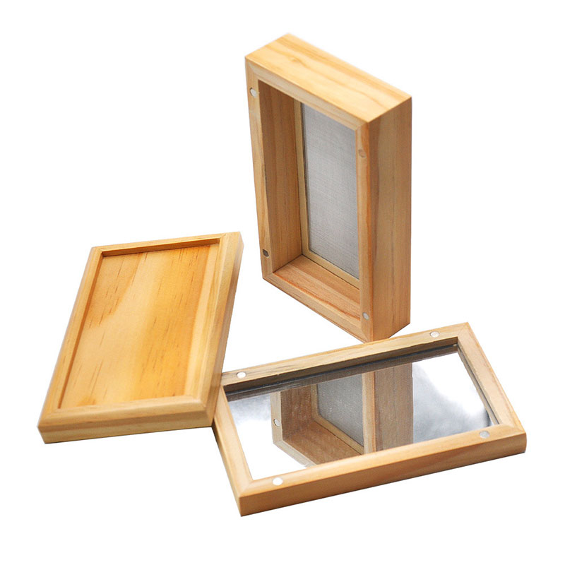 Portable Cuboid Wood Storage Box with Mirror Cover Smoking Storage Container <font><b>Case</b></font> with Filter Sieve Cigarette <font><b>Tobacco</b></font> Pipe Box image