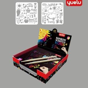 Набор радужных бумажных карт YUELU 100 шт., трафарет для граффити, ручка для рисования, волшебные цветные царапины, детские игрушки для творчест...