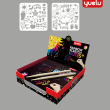 YUELU 100pcs Rainbow Scratch Paper Card Set with Graffiti Stencil for Drawing Pen Magic Color Scratch Notes DIY Painting Toy Kid