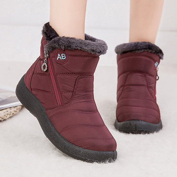 Buty damskie 2020 moda wodoodporne buty śniegowe na zimowe buty damskie dorywczo lekkie kostki Botas Mujer ciepłe buty zimowe tanie i dobre opinie HAJINK CN (pochodzenie) Dół ANKLE Szycia Stałe K01112 Dla dorosłych Mieszkanie z Buty śniegu Pluszowe Okrągły nosek
