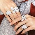 Женские кольца с большими листьями и фианитами, элегантные уникальные дизайнерские открытые Регулируемые кольца с розой и цветком, украшен...