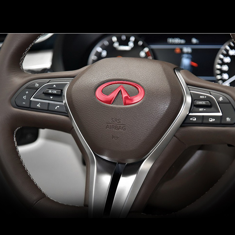 Car Accessories For Infiniti Q50 Q60 QX60 QX50 QX70 QX80 Q30 G25 G35 FX35 FX Steering Wheel Logo Alloy Cover Decoration Sticker