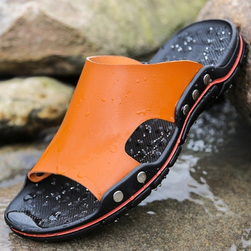 GAOKE 2020 New Summer Cool Water Flip Flops Men High Quality Soft Massage Beach Slippers Fashion Man Casual Shoes