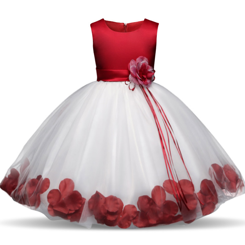 Kids Flowers Ribbons Dresses for Girls Tulle Gown Robe Ceremonie Fille Mariage Enfant Vestido Infantil for Girls Christmas Dress 2