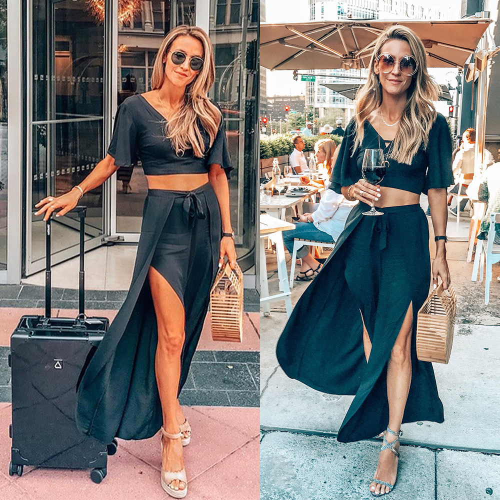 Hot Selling Solid Color V-neck Short Tops + Bandage Cloth High Slit Loose Pants Holiday Beach Leisure Suit Two-Piece Women's
