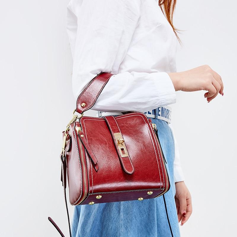Zency Simple Style Women Tote Bucket Bag 100% Genuine Leather Fashion Lady Shoulder Crossbody Bag High Quality Black Handbg