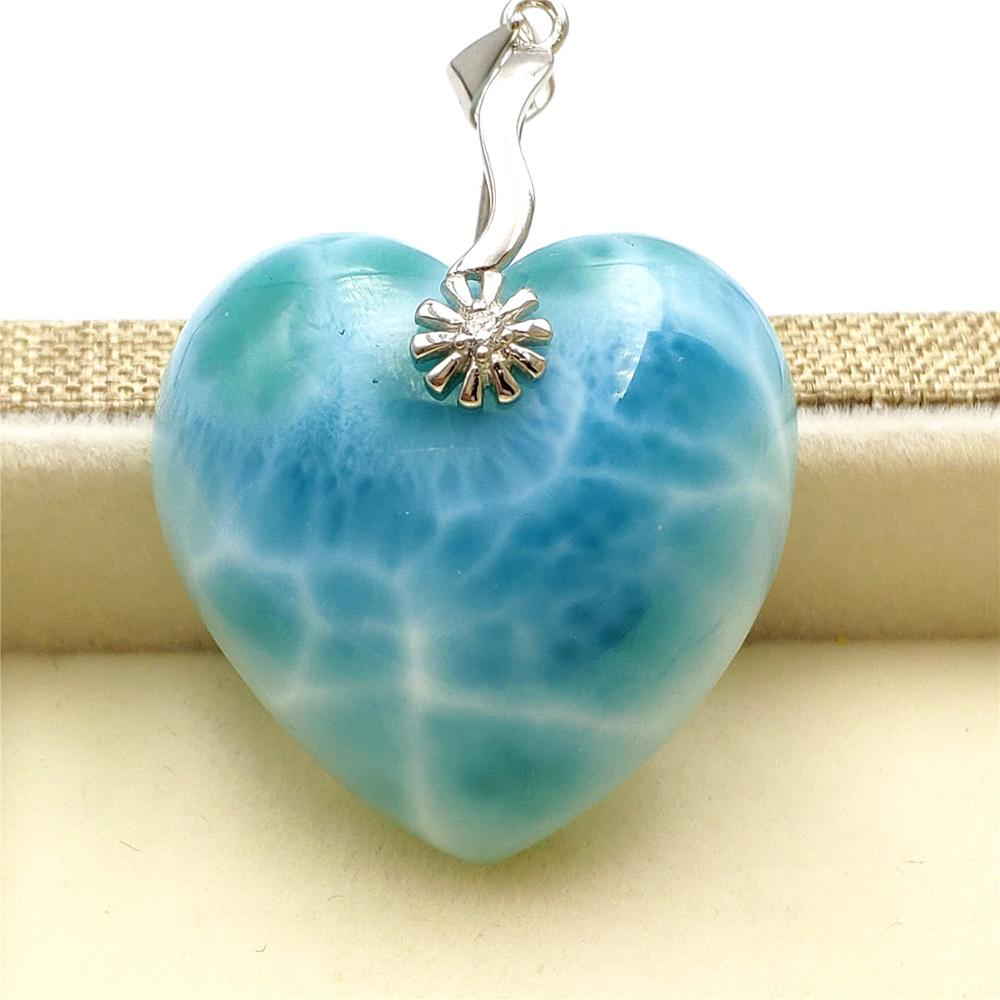 Natural Blue Larimar Gemstone Women Heart Love Pendant 27x27x12mm Birthyday Love Gift Water Pattern Pendant AAAAA