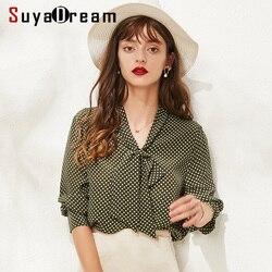 SuyaDream/блузка в горошек с длинными рукавами и бантом, 100% натуральный шелк, Офисная Женская блузка, рубашка 2019, осенняя рубашка