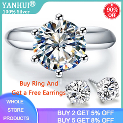 YANHUI With Certificate Silver 925 Ring Luxury White Gold Color Solitaire 2ct Lab Diamond Engagement Wedding Rings Gift Jewelry
