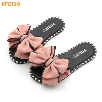 VFOCHI 2019 Girl Summer Slippers Bowknot Flats Children Shoes for Kids Teenager Casual Slip-on Mother Slipper