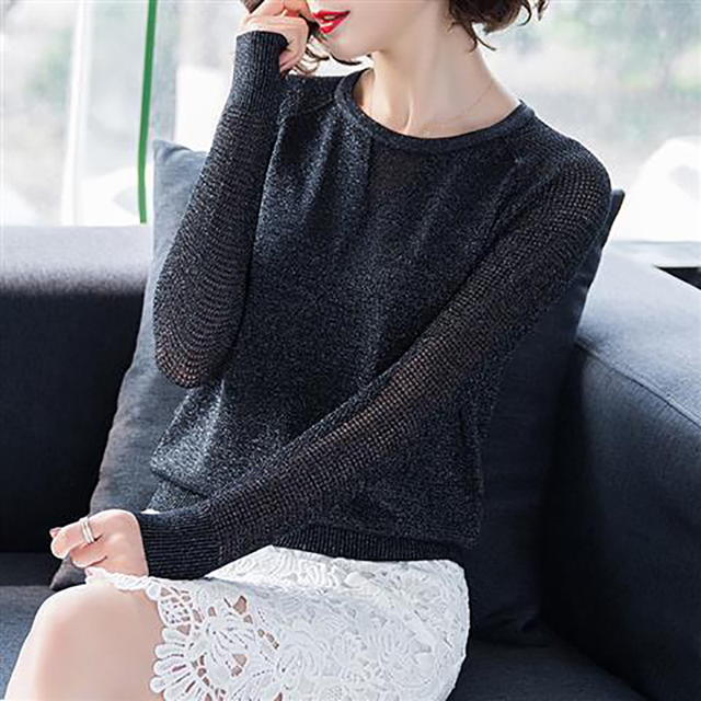 Women Spring Autumn Style Knitted Blouses Shirts Lady Casua Long Lace Sleeve O-Neck Knitted Blusas Tops DD8858 5