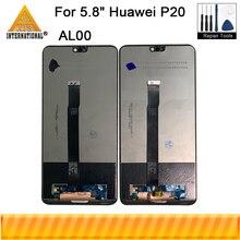 """الأصلي ل 5.8 """"هواوي P20 AL00 P20 EML L29 L22 L09 AL0 شاشة الكريستال السائل شاشة محول رقمي يعمل باللمس بصمة زر المنزل أدوات"""