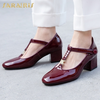 Sarairis 2020 Hot Sale Patent Leather Chunky Heels Office Lady Shoes Woman Sandals Female Buckle Strap Fashion Sandals Women