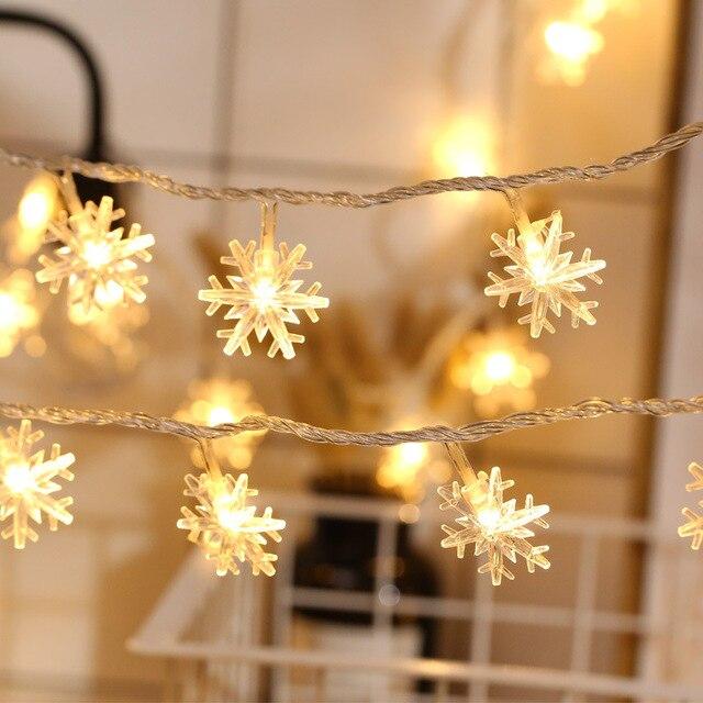 LED flocon de neige chaîne fée lumière AA batterie USB alimenté fée lumière joyeux noël nouvel an cadeaux noël pour la décoration