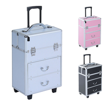 Trolley Cosmetic Case Portable Travel Makeup Case Professional Box Spinner Wheels Makeup Dresser Beauty Trolley Luggage US Stock